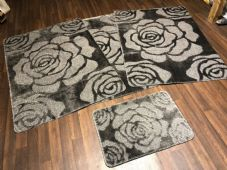 ROMANY WASHABLES NEW SETS OF 4 MATS XXLARGE SIZE 100X140CM GREY ROSES NON SLIP